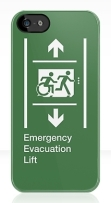 Accessible Means of Egress Icon Exit Sign Wheelchair Wheelie Running Man Symbol by Lee Wilson PWD Disability Emergency Evacuation Lift Elevator iPhone Case 7