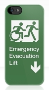 Accessible Means of Egress Icon Exit Sign Wheelchair Wheelie Running Man Symbol by Lee Wilson PWD Disability Emergency Evacuation Lift Elevator iPhone Case 8
