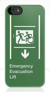 Accessible Means of Egress Icon Exit Sign Wheelchair Wheelie Running Man Symbol by Lee Wilson PWD Disability Emergency Evacuation Lift Elevator iPhone Case 9
