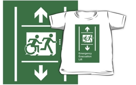 Accessible Means of Egress Icon Exit Sign Wheelchair Wheelie Running Man Symbol by Lee Wilson PWD Disability Emergency Evacuation Lift Elevator Kids T-shirt 1