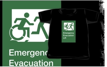 Accessible Means of Egress Icon Exit Sign Wheelchair Wheelie Running Man Symbol by Lee Wilson PWD Disability Emergency Evacuation Lift Elevator Kids T-shirt 10
