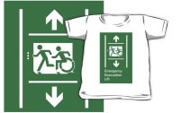 Accessible Means of Egress Icon Exit Sign Wheelchair Wheelie Running Man Symbol by Lee Wilson PWD Disability Emergency Evacuation Lift Elevator Kids T-shirt 11