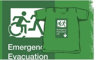 Accessible Means of Egress Icon Exit Sign Wheelchair Wheelie Running Man Symbol by Lee Wilson PWD Disability Emergency Evacuation Lift Elevator Kids T-shirt 12