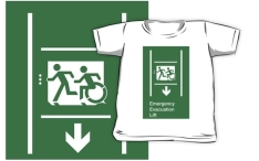 Accessible Means of Egress Icon Exit Sign Wheelchair Wheelie Running Man Symbol by Lee Wilson PWD Disability Emergency Evacuation Lift Elevator Kids T-shirt 2