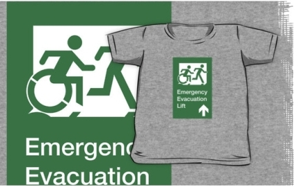 Accessible Means of Egress Icon Exit Sign Wheelchair Wheelie Running Man Symbol by Lee Wilson PWD Disability Emergency Evacuation Lift Elevator Kids T-shirt 3