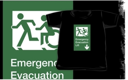 Accessible Means of Egress Icon Exit Sign Wheelchair Wheelie Running Man Symbol by Lee Wilson PWD Disability Emergency Evacuation Lift Elevator Kids T-shirt 4