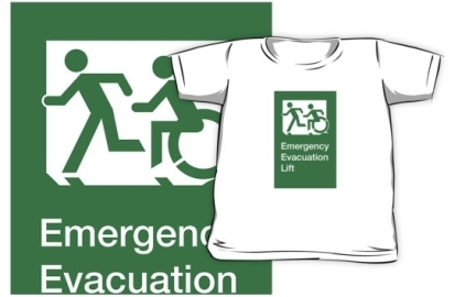 Accessible Means of Egress Icon Exit Sign Wheelchair Wheelie Running Man Symbol by Lee Wilson PWD Disability Emergency Evacuation Lift Elevator Kids T-shirt 5