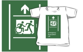 Accessible Means of Egress Icon Exit Sign Wheelchair Wheelie Running Man Symbol by Lee Wilson PWD Disability Emergency Evacuation Lift Elevator Kids T-shirt 6