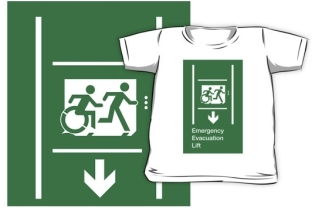 Accessible Means of Egress Icon Exit Sign Wheelchair Wheelie Running Man Symbol by Lee Wilson PWD Disability Emergency Evacuation Lift Elevator Kids T-shirt 7