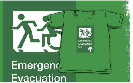 Accessible Means of Egress Icon Exit Sign Wheelchair Wheelie Running Man Symbol by Lee Wilson PWD Disability Emergency Evacuation Lift Elevator Kids T-shirt 8