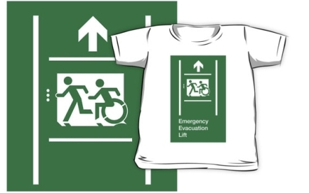 Accessible Means of Egress Icon Exit Sign Wheelchair Wheelie Running Man Symbol by Lee Wilson PWD Disability Emergency Evacuation Lift Elevator Kids T-shirt 9