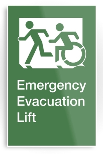 Accessible Means of Egress Icon Exit Sign Wheelchair Wheelie Running Man Symbol by Lee Wilson PWD Disability Emergency Evacuation Lift Elevator Metal Printed 1