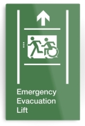 Accessible Means of Egress Icon Exit Sign Wheelchair Wheelie Running Man Symbol by Lee Wilson PWD Disability Emergency Evacuation Lift Elevator Metal Printed 10