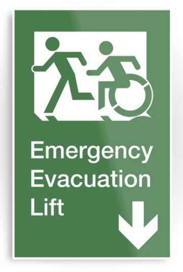 Accessible Means of Egress Icon Exit Sign Wheelchair Wheelie Running Man Symbol by Lee Wilson PWD Disability Emergency Evacuation Lift Elevator Metal Printed 11