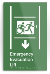 Accessible Means of Egress Icon Exit Sign Wheelchair Wheelie Running Man Symbol by Lee Wilson PWD Disability Emergency Evacuation Lift Elevator Metal Printed 12