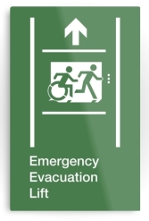 Accessible Means of Egress Icon Exit Sign Wheelchair Wheelie Running Man Symbol by Lee Wilson PWD Disability Emergency Evacuation Lift Elevator Metal Printed 2