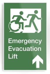 Accessible Means of Egress Icon Exit Sign Wheelchair Wheelie Running Man Symbol by Lee Wilson PWD Disability Emergency Evacuation Lift Elevator Metal Printed 3