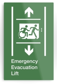 Accessible Means of Egress Icon Exit Sign Wheelchair Wheelie Running Man Symbol by Lee Wilson PWD Disability Emergency Evacuation Lift Elevator Metal Printed 4
