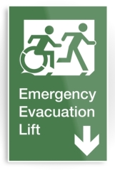 Accessible Means of Egress Icon Exit Sign Wheelchair Wheelie Running Man Symbol by Lee Wilson PWD Disability Emergency Evacuation Lift Elevator Metal Printed 5