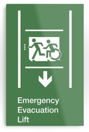 Accessible Means of Egress Icon Exit Sign Wheelchair Wheelie Running Man Symbol by Lee Wilson PWD Disability Emergency Evacuation Lift Elevator Metal Printed 6