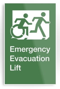 Accessible Means of Egress Icon Exit Sign Wheelchair Wheelie Running Man Symbol by Lee Wilson PWD Disability Emergency Evacuation Lift Elevator Metal Printed 7