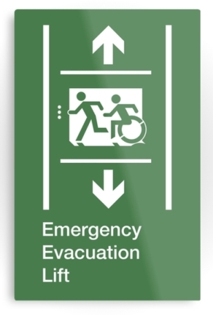Accessible Means of Egress Icon Exit Sign Wheelchair Wheelie Running Man Symbol by Lee Wilson PWD Disability Emergency Evacuation Lift Elevator Metal Printed 8