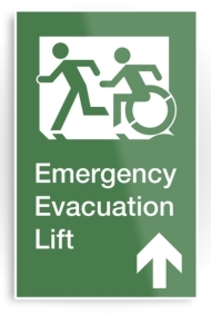 Accessible Means of Egress Icon Exit Sign Wheelchair Wheelie Running Man Symbol by Lee Wilson PWD Disability Emergency Evacuation Lift Elevator Metal Printed 9