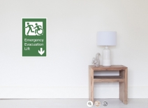 Accessible Means of Egress Icon Exit Sign Wheelchair Wheelie Running Man Symbol by Lee Wilson PWD Disability Emergency Evacuation Lift Elevator Poster 1
