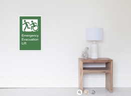 Accessible Means of Egress Icon Exit Sign Wheelchair Wheelie Running Man Symbol by Lee Wilson PWD Disability Emergency Evacuation Lift Elevator Poster 12