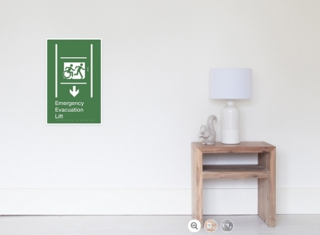 Accessible Means of Egress Icon Exit Sign Wheelchair Wheelie Running Man Symbol by Lee Wilson PWD Disability Emergency Evacuation Lift Elevator Poster 2