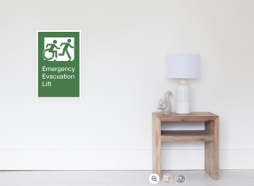 Accessible Means of Egress Icon Exit Sign Wheelchair Wheelie Running Man Symbol by Lee Wilson PWD Disability Emergency Evacuation Lift Elevator Poster 5