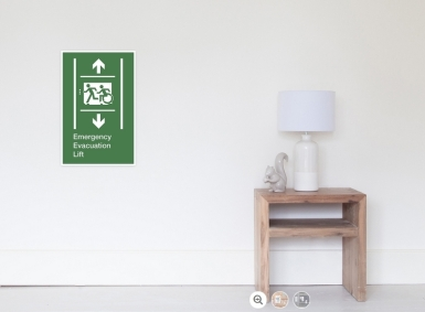 Accessible Means of Egress Icon Exit Sign Wheelchair Wheelie Running Man Symbol by Lee Wilson PWD Disability Emergency Evacuation Lift Elevator Poster 6