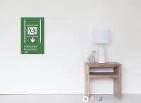 Accessible Means of Egress Icon Exit Sign Wheelchair Wheelie Running Man Symbol by Lee Wilson PWD Disability Emergency Evacuation Lift Elevator Poster 9