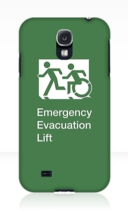 Accessible Means of Egress Icon Exit Sign Wheelchair Wheelie Running Man Symbol by Lee Wilson PWD Disability Emergency Evacuation Lift Elevator Samsung Galaxy Case 1