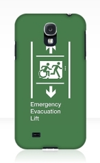 Accessible Means of Egress Icon Exit Sign Wheelchair Wheelie Running Man Symbol by Lee Wilson PWD Disability Emergency Evacuation Lift Elevator Samsung Galaxy Case 10