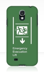 Accessible Means of Egress Icon Exit Sign Wheelchair Wheelie Running Man Symbol by Lee Wilson PWD Disability Emergency Evacuation Lift Elevator Samsung Galaxy Case 12