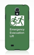 Accessible Means of Egress Icon Exit Sign Wheelchair Wheelie Running Man Symbol by Lee Wilson PWD Disability Emergency Evacuation Lift Elevator Samsung Galaxy Case 2