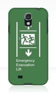 Accessible Means of Egress Icon Exit Sign Wheelchair Wheelie Running Man Symbol by Lee Wilson PWD Disability Emergency Evacuation Lift Elevator Samsung Galaxy Case 3