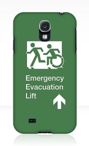Accessible Means of Egress Icon Exit Sign Wheelchair Wheelie Running Man Symbol by Lee Wilson PWD Disability Emergency Evacuation Lift Elevator Samsung Galaxy Case 4