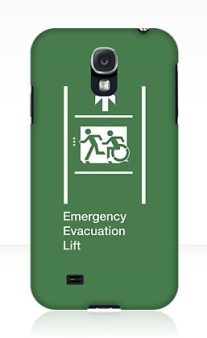 Accessible Means of Egress Icon Exit Sign Wheelchair Wheelie Running Man Symbol by Lee Wilson PWD Disability Emergency Evacuation Lift Elevator Samsung Galaxy Case 5