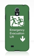 Accessible Means of Egress Icon Exit Sign Wheelchair Wheelie Running Man Symbol by Lee Wilson PWD Disability Emergency Evacuation Lift Elevator Samsung Galaxy Case 6