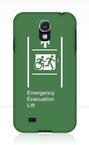 Accessible Means of Egress Icon Exit Sign Wheelchair Wheelie Running Man Symbol by Lee Wilson PWD Disability Emergency Evacuation Lift Elevator Samsung Galaxy Case 8