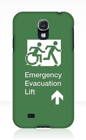 Accessible Means of Egress Icon Exit Sign Wheelchair Wheelie Running Man Symbol by Lee Wilson PWD Disability Emergency Evacuation Lift Elevator Samsung Galaxy Case 9