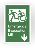Accessible Means of Egress Icon Exit Sign Wheelchair Wheelie Running Man Symbol by Lee Wilson PWD Disability Emergency Evacuation Lift Elevator Sticker 1