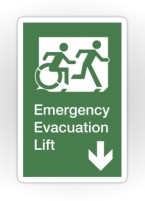 Accessible Means of Egress Icon Exit Sign Wheelchair Wheelie Running Man Symbol by Lee Wilson PWD Disability Emergency Evacuation Lift Elevator Sticker 10