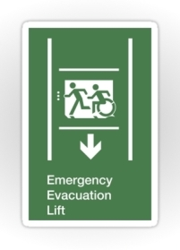 Accessible Means of Egress Icon Exit Sign Wheelchair Wheelie Running Man Symbol by Lee Wilson PWD Disability Emergency Evacuation Lift Elevator Sticker 11