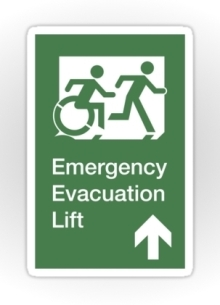 Accessible Means of Egress Icon Exit Sign Wheelchair Wheelie Running Man Symbol by Lee Wilson PWD Disability Emergency Evacuation Lift Elevator Sticker 12