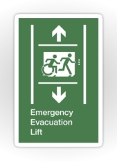 Accessible Means of Egress Icon Exit Sign Wheelchair Wheelie Running Man Symbol by Lee Wilson PWD Disability Emergency Evacuation Lift Elevator Sticker 2