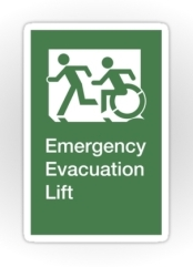 Accessible Means of Egress Icon Exit Sign Wheelchair Wheelie Running Man Symbol by Lee Wilson PWD Disability Emergency Evacuation Lift Elevator Sticker 3