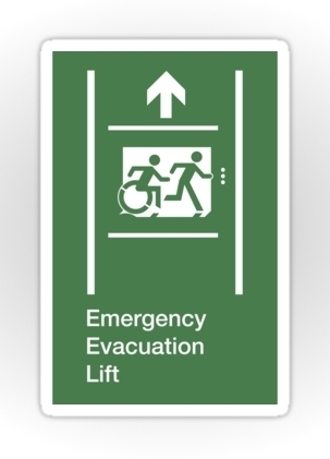 Accessible Means of Egress Icon Exit Sign Wheelchair Wheelie Running Man Symbol by Lee Wilson PWD Disability Emergency Evacuation Lift Elevator Sticker 4